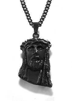 """1st Collection Black Rhodium """"Jesus Piece"""" Chain Jesus Piece, Black Rhodium, Decorative Bells, Dog Tags, Dog Tag Necklace, Chains, Swag, Collection, Jewelry"""