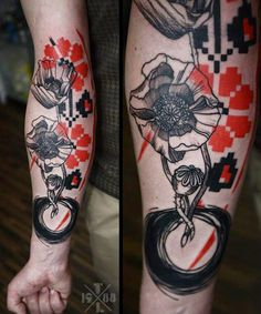Abstract Flowers Tattoo by Timur Lysenko | Tattoo No. 12620