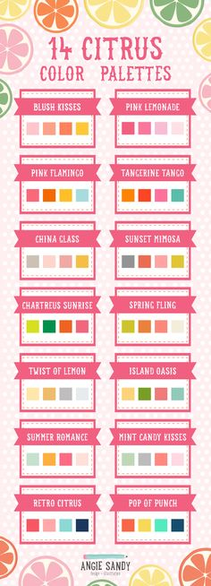 ༺༺༺♥Elles♥Heart♥Loves♥༺༺༺ ...........♥Art Color Charts♥........... #Color #Chart #ColorChart #Inspiration #Design #Moodboard #Paint #Palette #Decorate #Art #Renovate ~ ♥14Citrus Color Palettes Angie Sandy.