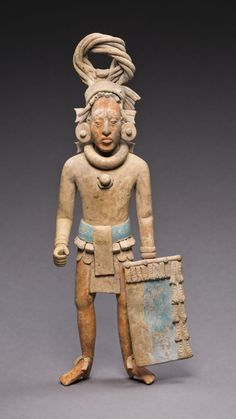 Late Classic Maya, Jaina Campeche or Yucatán, Mexico Figure of a Standing Warrior, A.D. 650/800