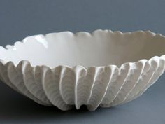 Small Scallop Bowl by elementclaystudio: Handmade of porcelain. Porcelain Clay, Ceramic Clay, Ceramic Bowls, Ceramic Pottery, Pottery Art, Slab Pottery, White Porcelain, Ceramic Pinch Pots, Clay Bowl