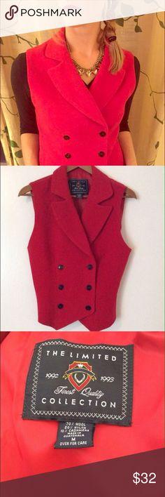 Vintage Red Vest This is a one of a kind vintage wool vest from The Limited Collection. Women's size Medium. Black buttons. The Limited Jackets & Coats Vests