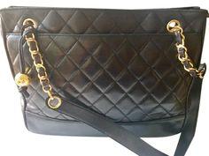 e529d210c88a Chanel Matelasse Vintage Large Chain Quilted Shopper Black Calfskin Leather  Shoulder Bag 82% off retail