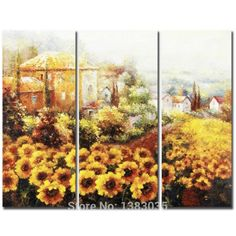 Hand Painted House Sunflower Field Landscape Oil Painting On Canvas 3 Panel Wall Art Modern Abstract Picture For Home Decor #Affiliate