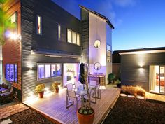 sophisticated backyard house design funky lighting system