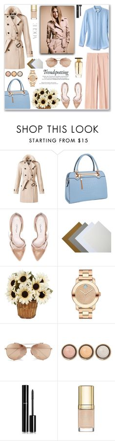 """""""Pastel Trench Coats"""" by anyasdesigns ❤ liked on Polyvore featuring Burberry, Relaxfeel, Oscar de la Renta, Movado, Linda Farrow, Melissa, By Terry, Chanel, Dolce&Gabbana and women's clothing"""