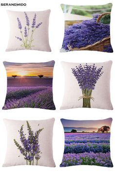 [Visit to Buy] Purple Lavender Flowers Waist Cushion Cases Elegant Linen Cotton Pillow Covers Funda Cojin for Bedding Home Decor Pillow Covers, Cushions, Pillows, Lavender Flowers, Cotton Pillow, Home Textile, Bedding, Home And Garden
