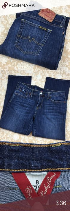 """Lucky Brand Crop Jeans Very nice pair of Lucky Brand crop jeans. 99% cotton 1% spandex. Great condition. Size 8. Waist measured flat 16"""", rise 9"""" and inseam 24"""".  PT LOC-F Lucky Brand Jeans"""