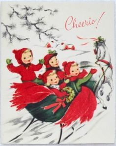 #761 50s Kids in Red Velvet-Horse Drawn Sleigh-Vintage Christmas Greeting Card