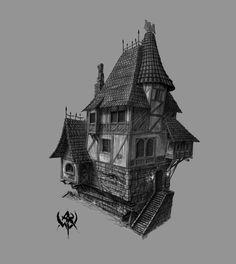 Warhammer concept art Building Concept, Building Design, Concept Architecture, Architecture Design, Warhammer Online, Buildings Artwork, Medieval Houses, Fantasy City, Interesting Buildings