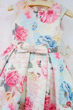 Vestido de Festa Infantil Tweed Floral Petit Cherie