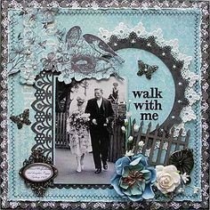 Walk with Me ~ Gorgeous heritage father and bride page with punched borders and machine stitched edging. Love how the photo was visually extended with the picket fence and flower embellishments - into the scraplift file it goes! Scrapbook Designs, Scrapbook Sketches, Scrapbook Page Layouts, Scrapbook Albums, Scrapbook Cards, Scrapbook Journal, Heritage Scrapbook Pages, Wedding Scrapbook Pages, Scrapbooking Vintage