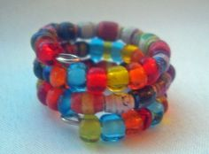 ❦❋ Bright Glass & Micro Paper #Bead Wrap Finger Ring Made from #Recycled Ma... #geekery http://etsy.me/2fKQo8r