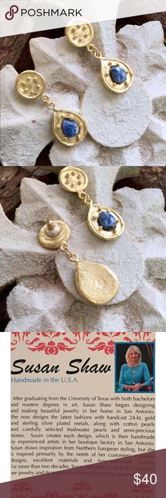 Susan Shaw Gold & Sodalite stone earring Susan Shaw Handcast  gold round and teardrop genuine Sodalite stone earring. All sales final. Susan Shaw Designs Jewelry Earrings