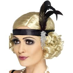 Black 1920s Headband with Feather $5.98 AT vintagedancer.com