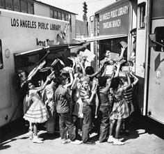 """n 1960, """"Little Toot,"""" a Los Angeles Public Library bookmobile, was retired in favor of a new, larger book van. From the looks of things, officials declined to call the new touring library Big Toot."""