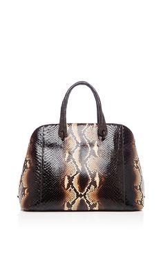 Brown Python Top Handle Bag by Nancy Gonzalez for Preorder on Moda Operandi