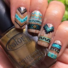 """Wooden Aztec (Tribal)nails for #NailArtMay. The inspiration came from @coewless but it's my own design with metallic colours. They're my 1st Aztec…"""