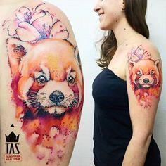 Red Panda at @gabrielpuas #redpandatattoo #redpanda #sakura #flower #sakuratattoo #rodrigotas #tas #dotworktattoo #pontilhismo #watercolortattoo #aquarela  #tattoo2me #tattoaria #tattoodesign #tattoodo #inspirationtattoo #tattrx  #equilattera #1session