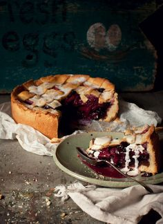 Apple, ginger and blueberry shortcrust pie