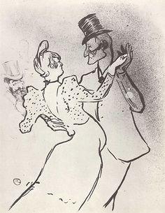 Анри де Тулуз-Лотрек. Ла Гулю и Валентин. 1894 г. 29,8 х 23 см Литография.