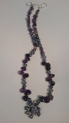 Items similar to Freshwater pearls necklace/amethyst necklace/beaded crystal necklace/elegant necklace/wire wrapped necklace on Etsy Amethyst Necklace, Crystal Necklace, Crystal Beads, Beaded Necklace, Crystals, Wire Jewelry, Unique Jewelry, Wire Wrapped Necklace, Freshwater Pearl Necklaces