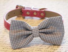 Gray Polka Dots Dog Bow Tie with high quality Pink leather collar-Wedding dog accessories #LADogCollar #LA #Collar #Animals #Halloween #Christmas #Thanksgiving #WeddingGift #BirthdayParty #Party #Love #BestFriend #GrayWedding #PinkWedding #LovePink #WeddingIdeas
