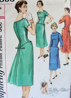 S1853 ©1956; Misses' One-Piece Dress with Detachable Neck and Sleeve Trim
