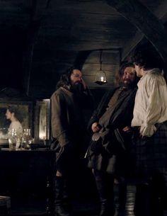 Jamie Fraser (Sam Heughan) battles off Angus and Rupert in Episode 107 of Outlander on Starz