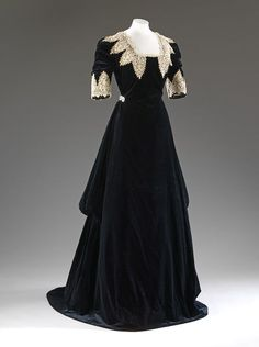 Circa 1909 silk velvet and chemical lace Evening Dress by John Redfern.