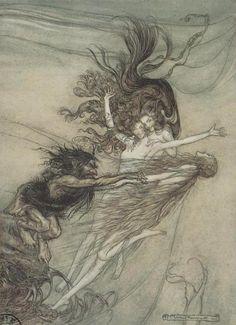 """""""L'Anneau des Nibelungen"""" par Arthur Rackham."""