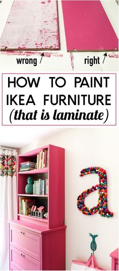 You can paint IKEA furniture, but painting the laminate furniture pieces. There is a CRUCIAL TRICK to painting Ikea laminate, especially the Billy bookcases! This tutorial tells you exactly how to paint IKEA furniture. Painting Ikea Furniture, Furniture Projects, Home Projects, Painted Furniture, Home Furniture, Furniture Design, Bedroom Furniture, Furniture Stores, Diy Bedroom