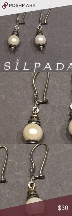 Silpada light the way pearl drop earrings W0922 Silver and pearl earrings measuring 1.5 inches total. Excellent preowned condition from a smoke free home. Thank you for looking Silpada Jewelry Earrings