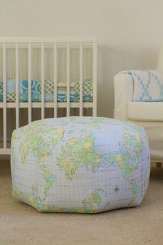gumdrop pillow pattern by amy butler, map print by bernatex, sewn by saidos da concha