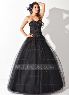 Ball-Gown Sweetheart Floor-Length Beading Sequins Lace Up Strapless Sleeveless No Black Winter Spring Summer Fall General Plus Tulle Quinceanera Dress