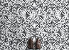 black and white art deco fan print vinyl flooring Premium Vinyl Flooring, Cushioned Vinyl Flooring, Vinyl Flooring Bathroom, Art Deco Home, Patterned Vinyl, Higher Design, Floor Design, White Art, Color Schemes