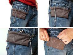 Grey belt bag cell phone covers rustic unisex belt case Vegan bag Bicycle bag Bike belt bag
