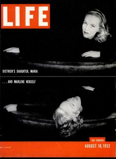 Marlene Dietrich and her daughter, Maria, in photos by Milton Greene on the front cover of 'LIFE' magazine, USA, August 1952.