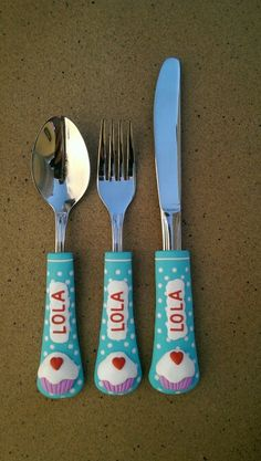 Polymers, Spoon, Polymer Clay, Tableware, Cup Decorating, Cutlery, Dish Sets, Cooking, Fimo