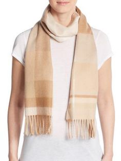 Plaid Cashmere Scarf in camel and ivory
