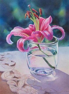LONE STARGAZER watercolor floral still lfe painting, painting by artist Barbara Fox Watercolor Fox, Watercolour Painting, Watercolor Flowers, Painting & Drawing, Watercolors, Art Aquarelle, Fox Art, Botanical Art, Flower Art