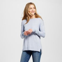 Women's Crew Neck Luxe Pullover - Merona Heather Blue Xxl