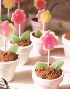 Traktatie Bloemetjes met muffin voor een kinderfeestje thuis