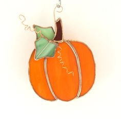 Fall Harvest Pumpkin Stained Glass Suncatcher by Nostalgianmore
