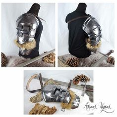 On sale in my etsy. Larp Armor, Shoulder Armor, Fantasy Armor, Fantasy Characters, Fancy, Leather Backpack, Weapons, Fantasy Outfits, Etsy