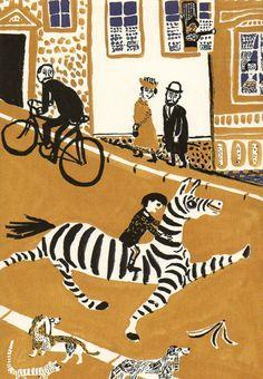 Cute illustration - Zebra Crossing! Roland - André François, Nelly Stéphane - Ed. Circonflexe.