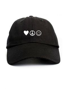 cd4f84bc49e Love Peace Happiness Unstructured Dad Hat Cap - Black - CD12OCH8FTC - Hats    Caps