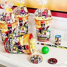 Transform Power Rangers party cups into fierce favors