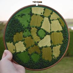 Vibrant air embroidery captures the beauty of English farmland from above Inspired by traditional embroidery techniques, more and more contemporary textile artists are pushi Embroidery Hoop Art, Crewel Embroidery, Hand Embroidery Patterns, Cross Stitch Embroidery, Embroidery Designs, Hand Embroidery Projects, Embroidery Supplies, Ribbon Embroidery, Thread Painting
