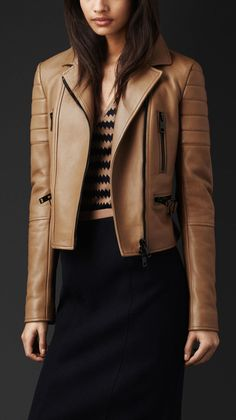 Burberry Prorsum Straw Beige Fitted Leather Biker Jacket Bomber